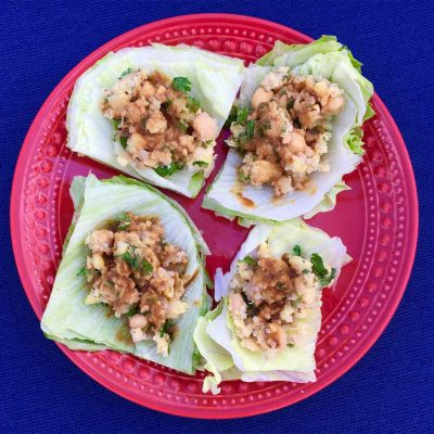 chick pea quinoa lettuce wrap asian ginger dip recipe