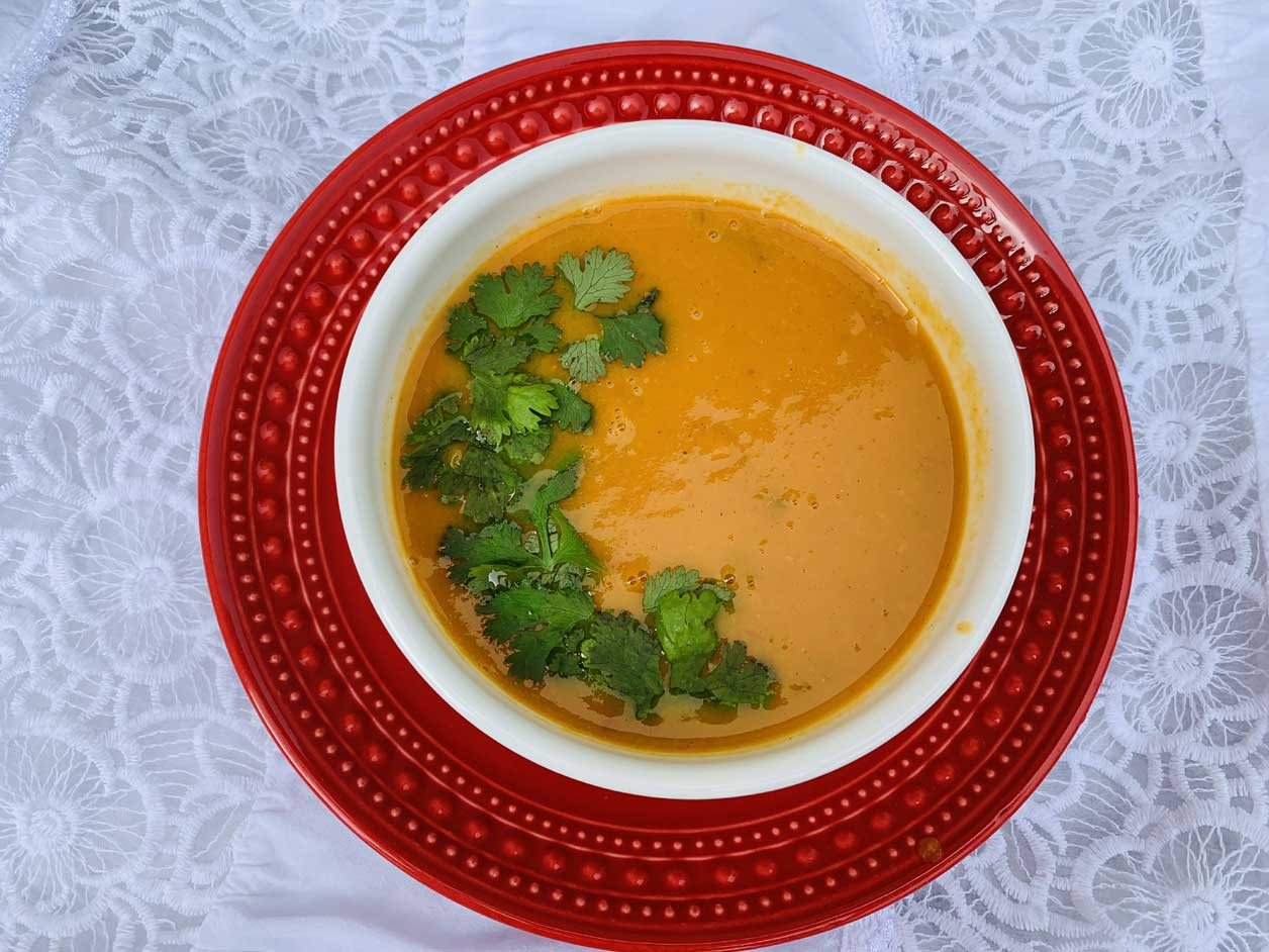 Autumn Harvest Sweet Potato Carrot Coconut Soup