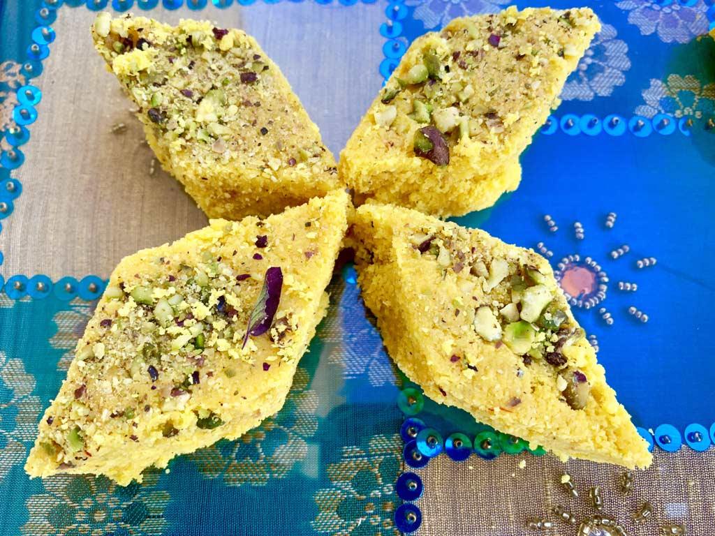 Saffron Coconut Cardamom Burfi