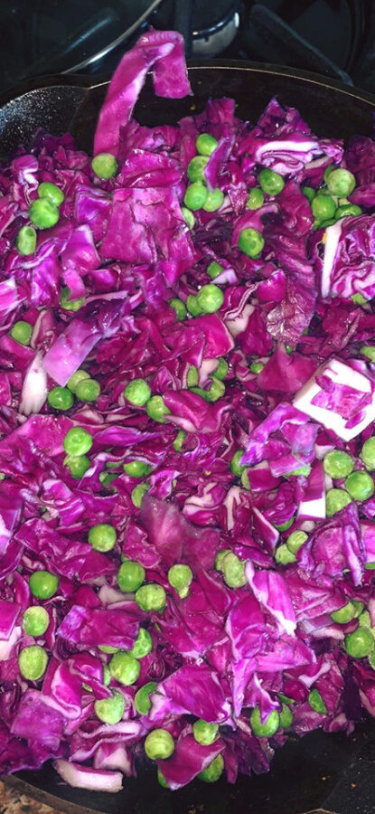 Purple Cabbage with Peas
